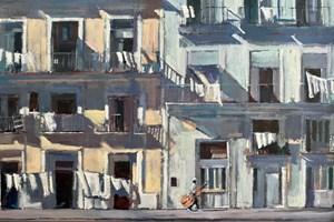 Street Scene with a Musician, Havana - acrylic on canvas - 50 x 80 cm - POA