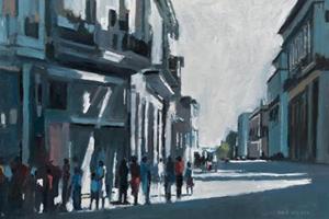 Street Scene, Havana, Cuba - oil on board - 35 x 50 - sold