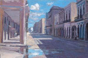 Street Scene, Havana - acrylic on board - 45 x 65 cm - sold