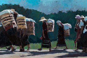 Heading Home from Market, Burma - oil on boad - 40 x 80 cm - £3250