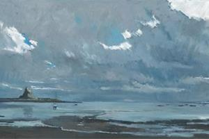 Holy Island, Northumberland - oil on board - 50 x 110 cm - sold