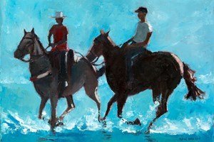 Boys Riding Horses in the Surf, Brazil - oil on board - 35 x 50 cm - sold