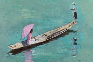 Man and Woman in a Boat, Burma  - Oil on Board - 35 x 50 cm - sold