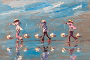 Three Women Carrying Salt, Vietnam - 77 x 110 - acrylic on board - sold