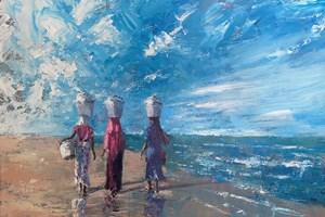 Walking Along the Beach, Gambia - acrylic on board - 60 x 70 cm - POA