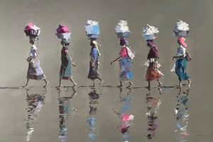 Six Women Walking, Mozambique - acrylic on board - 77 x 110 cms - POA