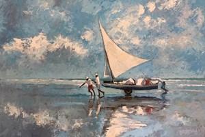 Hauling the Boat In, Brazil  - Oil on Board - 77 x 110 cm - POA