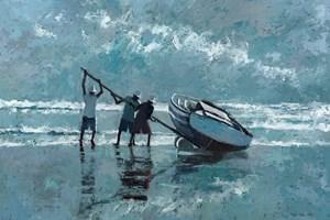 Levering a Boat, Brazil - Oil on Board - 77 x 110 cm - POA