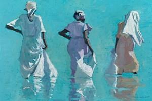 Women with White Bags, Zanzibar  - Oil on Board - 35  x 50 cm - sold