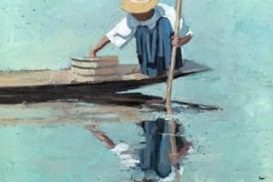 Crouching Fisherman, Inle Lake, Burma - Oil on Board - 50 x 50 cm - sold