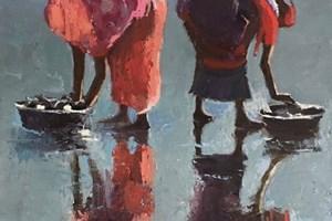 Women at the Fish Market, Diu, India - oil on board - 30 x 30 cm - POA