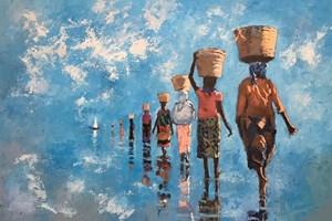 Line of Women walking towards a boat, Mozambique - oil on board - 77 x 110 cm - sold