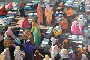 Cloth Market, Marrakech - acrylic on board - 56 x 80 cm - sold