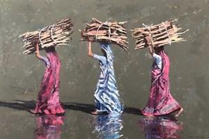 Women Carrying Sticks, Diu, India - acrylic on board - 56 x 80 cm - POA