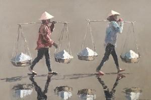 Women At Salt Fields, Hon Khoi, Vietnam - acrylic on board -  56 x 80 cms - sold