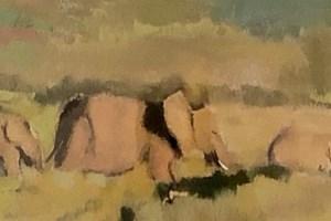 Elephants Walking, Tanzania - acrylic on board - 15 x 60 -POA