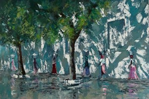Women Walking in Shadows, Mozambique - acrylic on board - 77 x 110 cm - POA