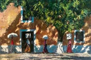 Four Women Walking in Shadows, Mozambique - acrylic on board - 77 x 110 cm - POA