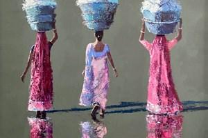 Women Carrying Washing, Gujarat - acrylic on board - 80 x 80 cms - sold