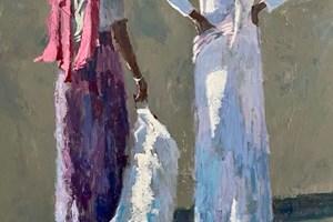 Two Women, Gambia - acrylic on board - 110 x 77 - sold