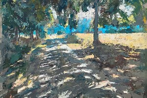 Lane in Shadows, Tuscany - acrylic on board - 84 x 98 cms - POA