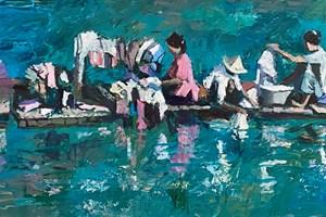 Women Washing Clothes on a Raft, Burma - acrylic on board - 30 x 90 cm - POA