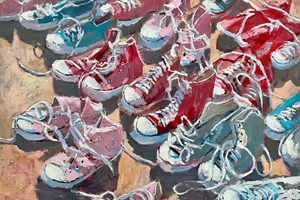 Shoes on the Beach, Gambia - acrylic on board - 60 x 76 cm - POA