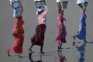 Four Women, Senegal - acrylic on board - 40 x 40 cms - sold
