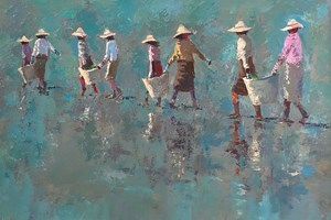Rice Pickers Carrying Baskets, Burma - acrylic on board - 60 x 90 cm - POA