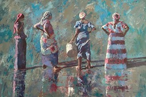 Women Looking out to Sea, Gambia - acrylic on board - 90 x 136 cms - POA