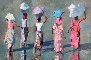 Five Women, Senegal - acrylic on board - 54 x 84 - POA