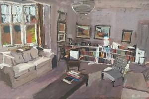Living Room, Wimbledon - acrylic on paper - 28 x 45 cm - POA