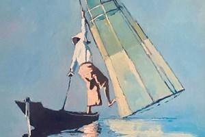 Fisherman, Inle Lake, Burma - oil on board - 70 x 50 cm - POA