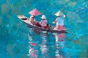 Family Boat Trip, Burma - acrylic on board - 35 x 50 cm - sold