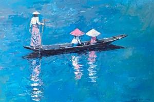 Three Women in a Boat, Burma - acrylic on board - 35 x 50 - POA