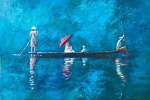 Family in a Fishing Boat, Burma - acrylic on board - 35 x 50 cm - POA