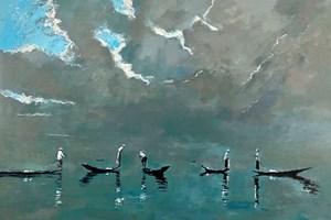 Fishermen in Boats, Inle Lake, Burma - acrylic on board -  77 x 110 cms - POA