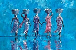 Five Women in Harmony, Gambia - acrylic on board - 90 x 100 cm - sold