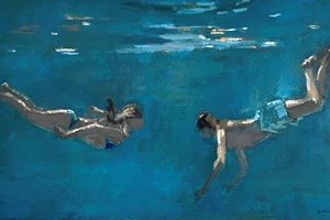 Brother and sister Swimming - acrylic on board - 35 x 65 cm - POA