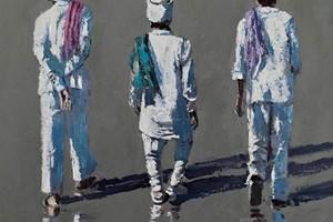 Three Men with Towels, Mumbai - acrylic on board - 52 x 52 cm - POA