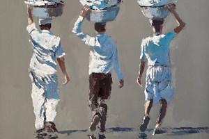 Three Men Carrying Washing, Mumbai - acrylic on board - 50 x 50 cm - POA