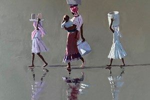 Mother with Hands Full, Mozambique - acrylic on board - 50 x 50 cm - sold