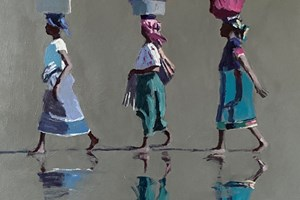 Three Women Walking, Mozambique - acrylic on board - 50 x 50 cm - POA