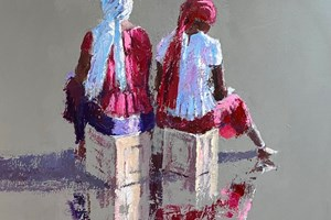 Two Women Sitting on Boxes, Gambia - acrylic on board - 50 x 50 cm - POA