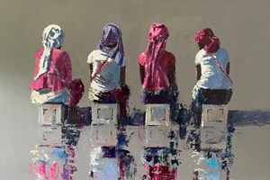 Four Women Sitting on Boxes, Gambia - acrylic on board - 60 x 80 cm - sold