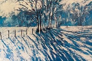 Wimbledon Common Snowscape - acrylic on board - 60 x 90 cm - POA