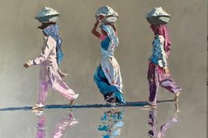 Three Women Walking, Diu, India - acrylic on board -  60 x 78 cms - POA
