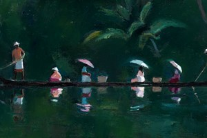 Ferry Boat with Reflections, Kerala Backwaters - oil on board - 30 x 60 cm - sold