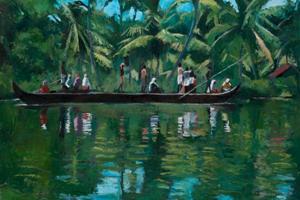 Boat in the Backwaters, Kerala - oil on board - 77 x 110 cm - sold