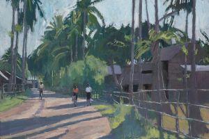 Walking home, Laos - oil on board - 60 x 90 cm - sold